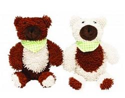 Plush Scruffy Bear w/ Scarf and Squeaker