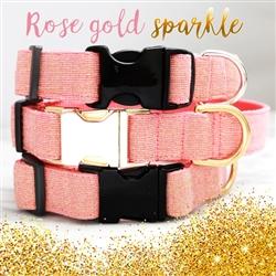 ROSE GOLD Linen Dog Collar