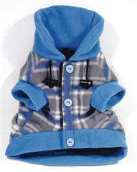 PLAID FLEECE BENCH WARMER / LIGHT BLUE