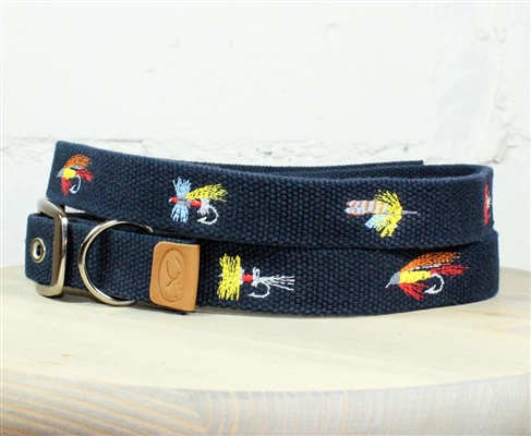 Fly Fishing Lures Embroidered Dog Collar - Navy