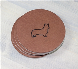 Dog Breed Leather Drink Coasters - 4 Pack
