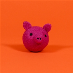 FELTED WOOL PIG FACE BALL