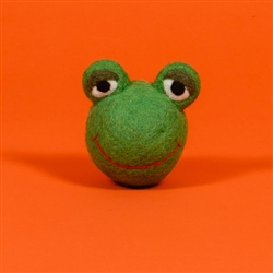 FELTED WOOL FROG FACE BALL