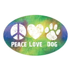 Peace Love Dog - Oval Magnet