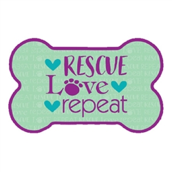 Rescue Love Repeat -  Bone Shaped Magnet