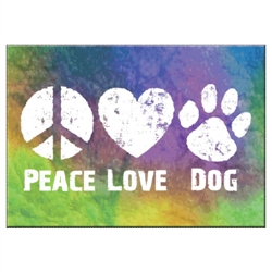 "Peace Love Dog - 3.5"" x 2.5"" Magnets"