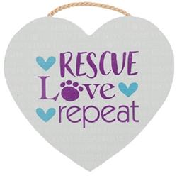 "8.75"" x 8"" Heart Shape Sign - Rescue Love Repeat"