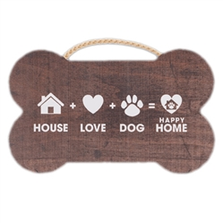 "9.5"" x 7.5"" Bone Shape Sign - House + Love + Dog"