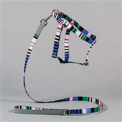 Blue Multi Striped Collar, Leash & Harness