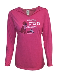 Never Run Alone women's long sleeve hooded tee