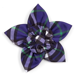 Bias Plaid Purple Collar Flower