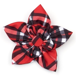 Bias Plaid Red Collar Flower