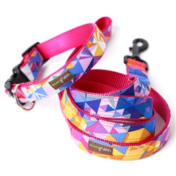 Collins Geometric Dog Collars & Leashes -- 4 Colors