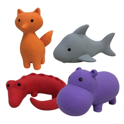 "Zoo Chew Toys - Fox, Hippo, Gator, Shark (4.5""-5"")"