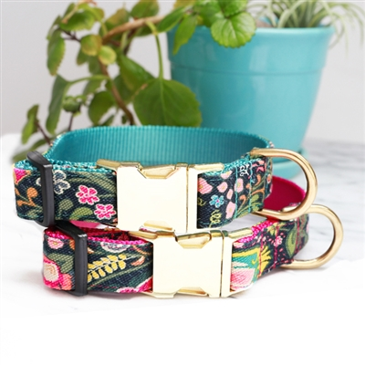 Midge Canvas Floral Dog Collars & Leashes -- 4 Colors
