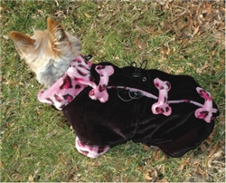 "VELOUR COAT W/FAUX FUR TRIM ""DIG THOSE BONES"" COAT / PINK LEOPARD"