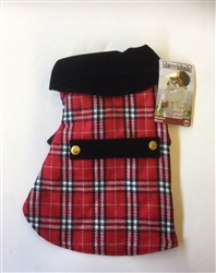 PLAID COAT W/VELVET COLLAR RED / SIZE X-SMALL