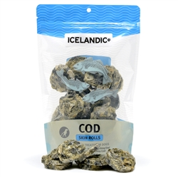 Icelandic+ Cod Skin Rolls (Fish Treat) - 3oz bags.