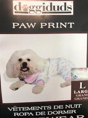 PAW PRINT PJ'S/ PINK TRIM