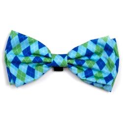 Preppy Argyle Blue Bow Tie