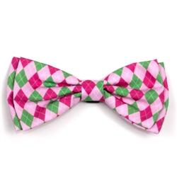 Preppy Argyle Pink Bow Tie