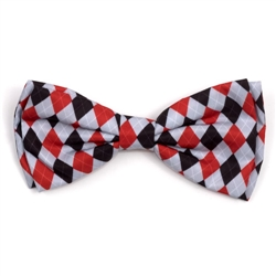 Preppy Argyle Red/Gray Bow Tie