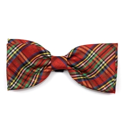 Holiday Red Lurex Plaid Bow Tie