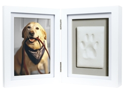 Dog or Cat Paw Print Pet Keepsake Photo Frame With Pet Pawprint Imprint Kit, White