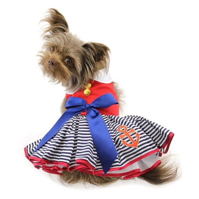 Sailor Girl Dress with Matching Leash