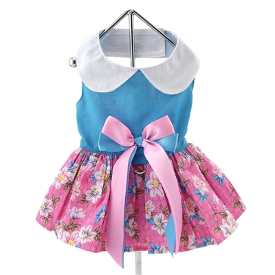 Pink and Blue Plumeria Floral Dress with Matching Leash