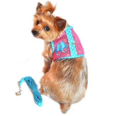 Flip Flop Pink and Blue Cool Mesh Velcro Dog Harness with Leash