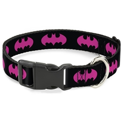 Buckle-Down Batman Signal Back/Fuchsia Leash and Clip Collar