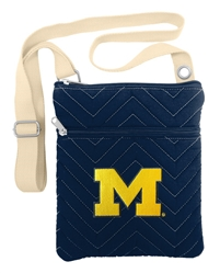 NCAA Michigan Wolverines Chev-Stitch Cross Body Purse