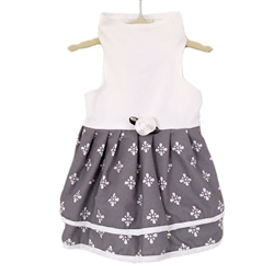 Grey and White Print Double Skirt by Daisy and Lucy