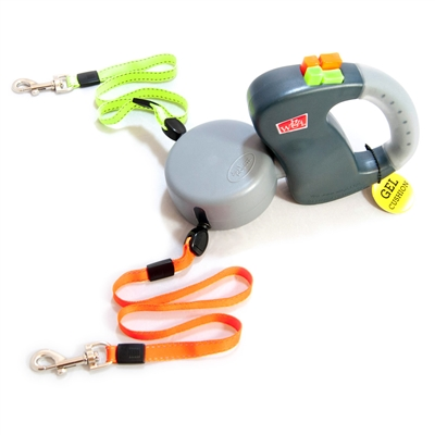 Dual Doggie GEL HANDLE Retractable Leash for Dogs up to 50lbs Each