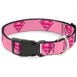 Buckle-Down Superman Shield Pink Plastic Clip Collar and Leash
