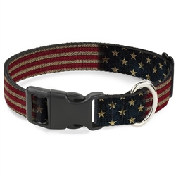 Buckle-Down Vintage US Flag Clip Collar and Leash
