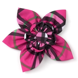 Bias Plaid Hot Pink Flower