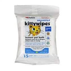 PetKin Unscented Kittywipes 15 count