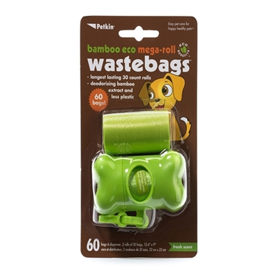 PetKin Bamboo Eco Mega-Roll Waste Bags - 60 count with dispenser