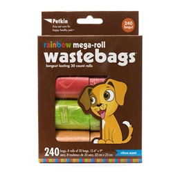 PetKin Rainbow Mega-Roll Waste Bags - 240 count