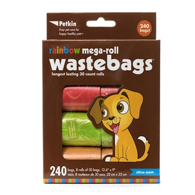 PetKin Rainbow Mega-Roll Waste Bags - 240 count
