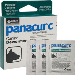 Panacur C Canine Dewormer (3 x 2-gram packets treats 20 lbs.)