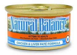 Natural Balance Chicken & Liver Pate Formula Canned Cat Food 24/5.5oz (Case of 24)
