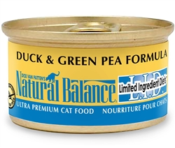 Natural Balance L.I.D. Duck & Green Pea Formula Canned Cat Food  (Case of 24)