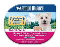 Natural Balance Delectable Delights Fish 'N Chicks in Broth Dog Food 2.75oz (Case of 24)