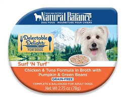 Natural Balance Delectable Delights Surf 'N Turf in Broth Dog Food 2.75oz(Case of 24)