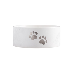 Pearhead Pet Bowl, Ceramic Pet Food or Water Bowl, Perfect for Dogs or Cats, Paw Prints