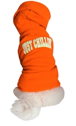 "HOODED SWEATSHIRT ""JUST CHILLIN"" / ORANGE"