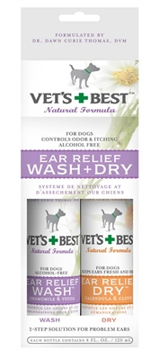 Veterinarian's Best Ear Relief Wash and Dry Combo 2pk and 4oz